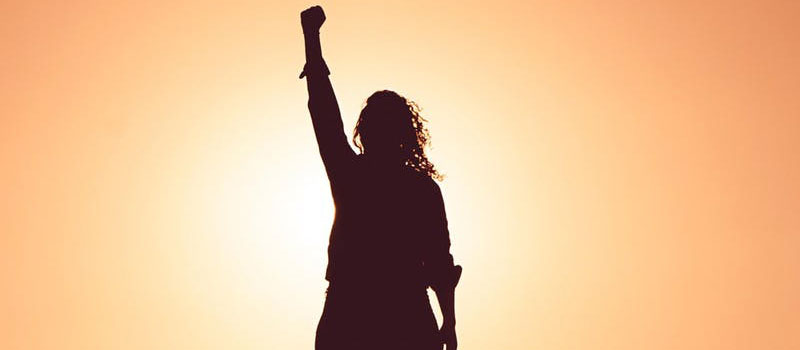 Woman with fist up